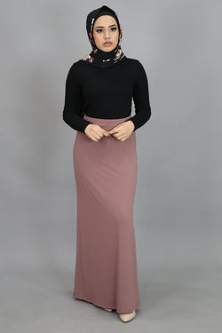 Nude Pink Spandex Maxi Skirt (4537002655801)