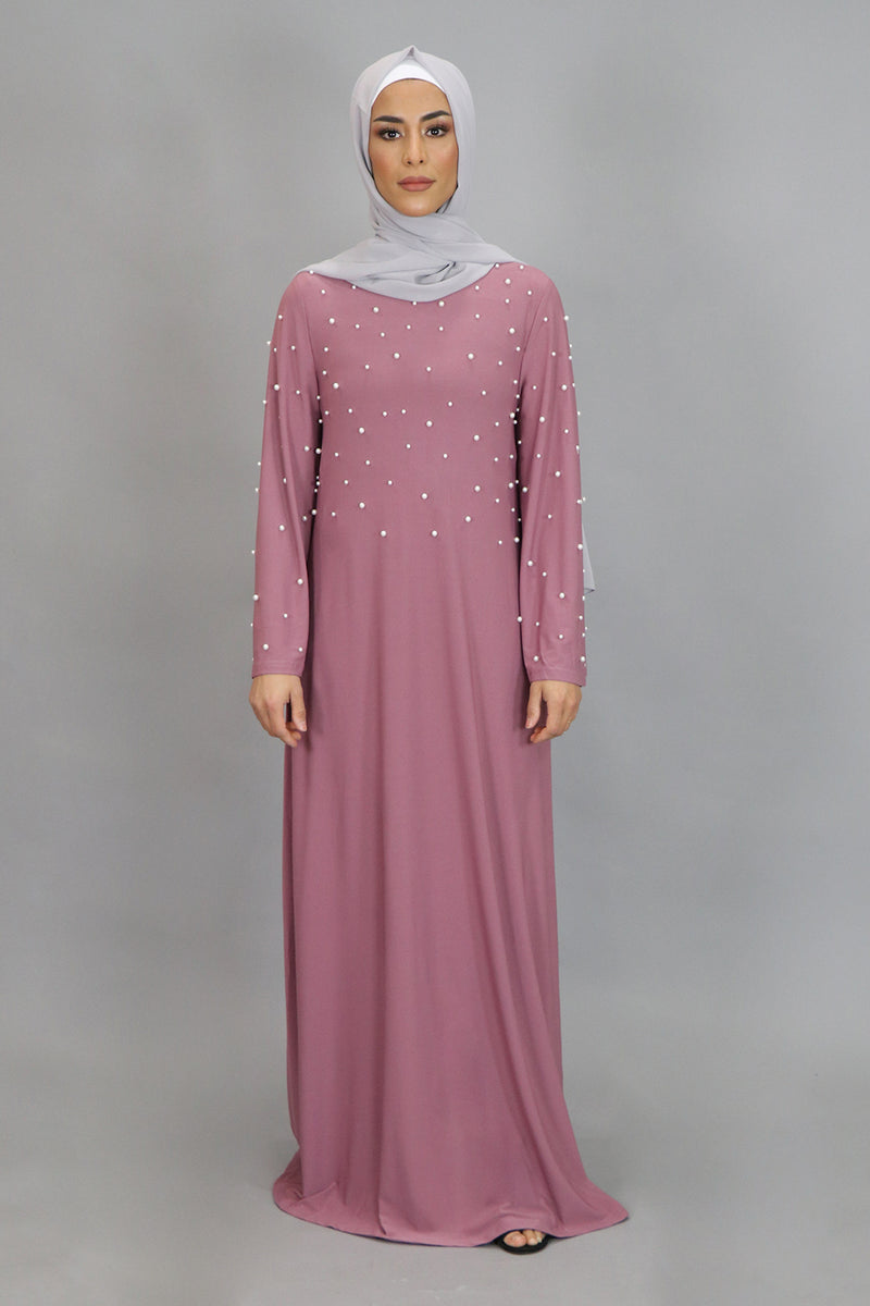 Rose Pink Wide Sleeve Pearls Spandex Maxi Dress (4549740494905)