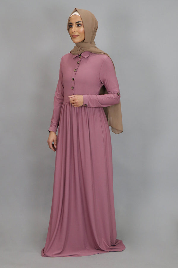 Rose Pink Button-Up Spandex Maxi Dress (4549657657401)