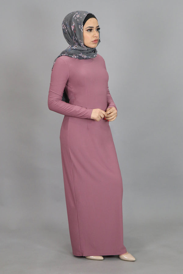 Rose Pink Plain Fitted Spandex Maxi Dress (4549797347385)