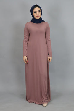 Nude Rose Pink Long Sleeve Spandex Maxi Dress (4534802219065)