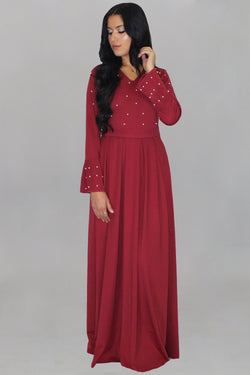 Maroon Pearls Maxi Dress (1395959627833)