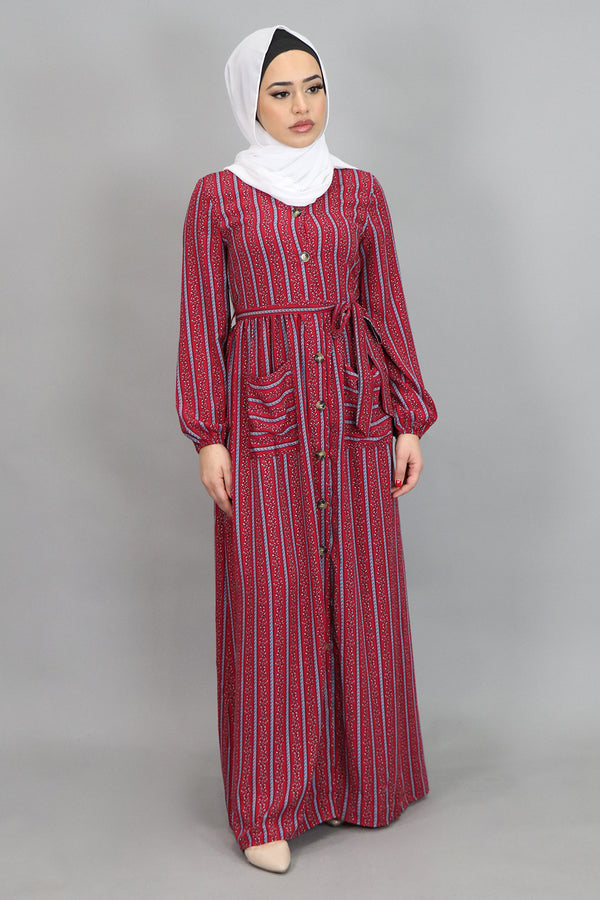 Maroon Aztec Striped Pocket Buttoned-Down Maxi Dress (4548003921977)