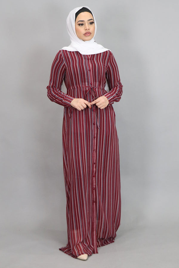 Burgundy Striped Buttoned-Down Maxi Dress (4547947987001)