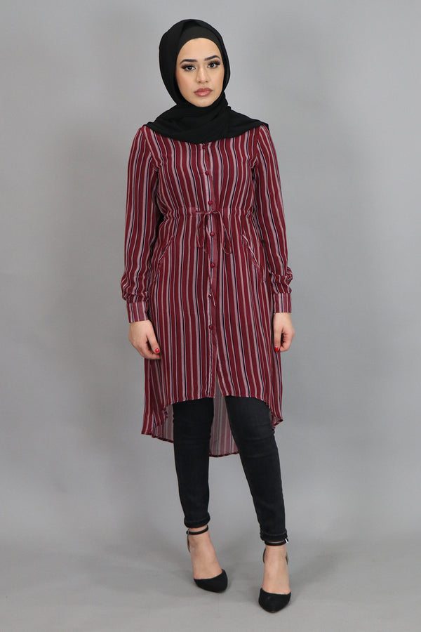 Maroon Striped Buttoned-Down Tunic (4537306251321)