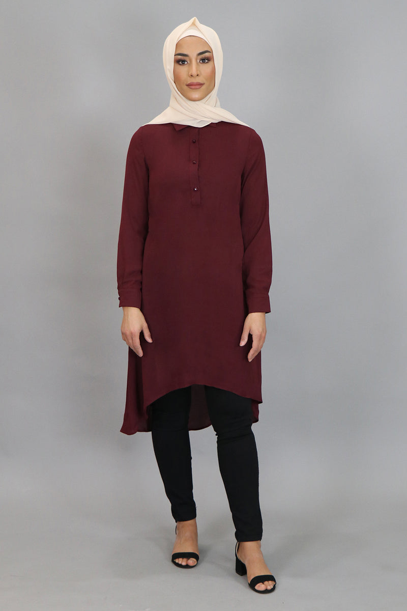 Mahogany Plain High Low Tunic (4545285455929)