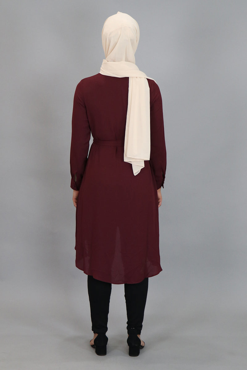 Mahogany Plain High Low Tunic