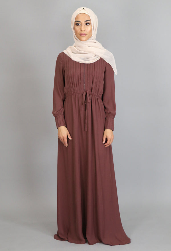 Auburn Brown Pleated Chiffon Button Maxi Dress (2361262309433)