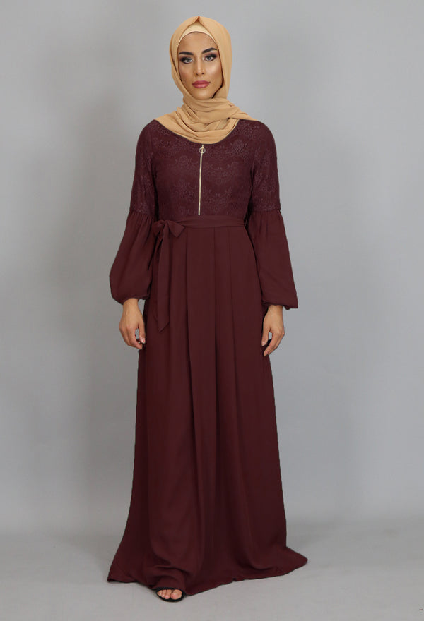 Maroon Lace Chiffon Maxi Dress (2381958348857)