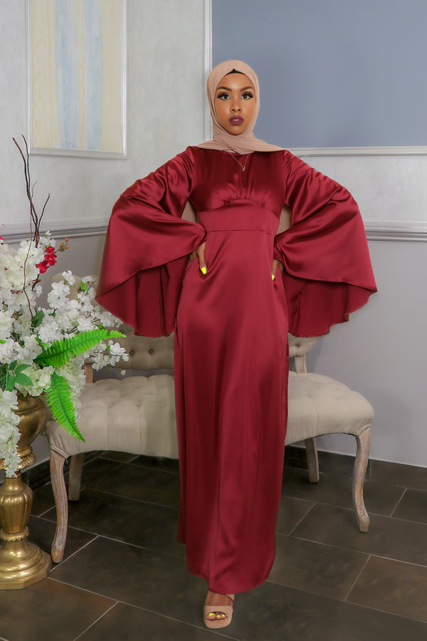 LaMeera Drape Sleeves Satin Dress - Ruby Red