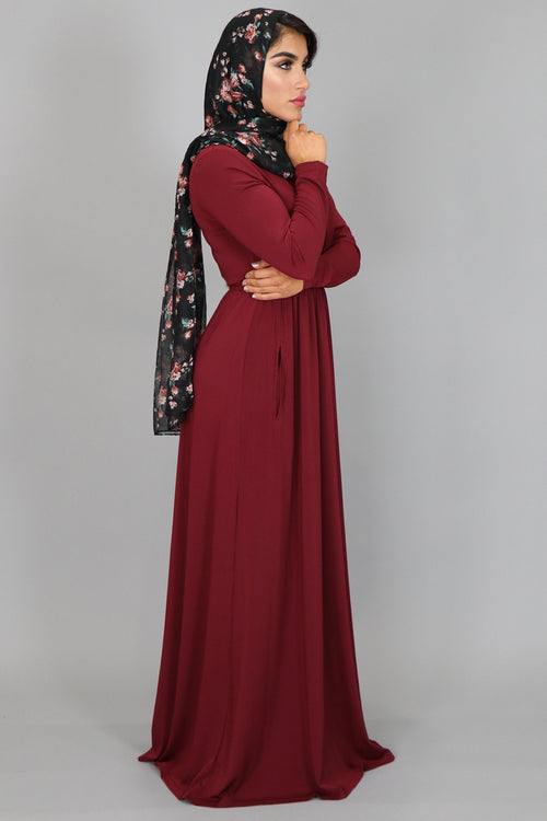 Wine Red Lace- up Spandex Maxi Dress