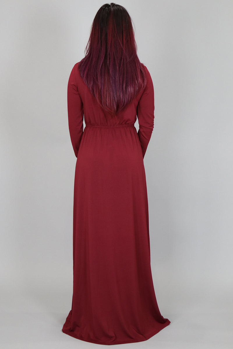 Maroon Spandex Maxi Dress (2097468833849)