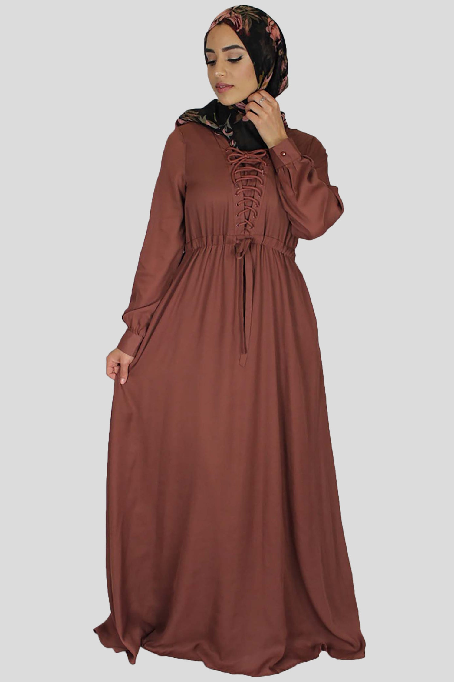 Dark Rusty Brown Lace-up Chiffon Maxi Dress (754977538105)