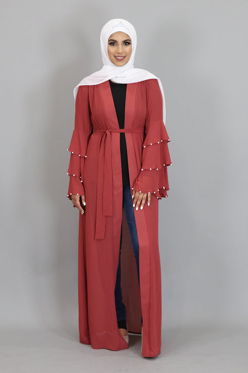 Rusty Pink Chiffon Pearls Abaya Cardigan Dress (2346727964729)