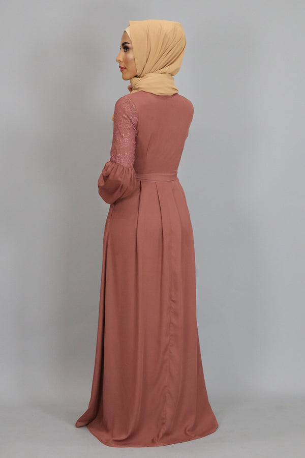 Rusty Brown Lace Chiffon Maxi Dress (2381962281017)
