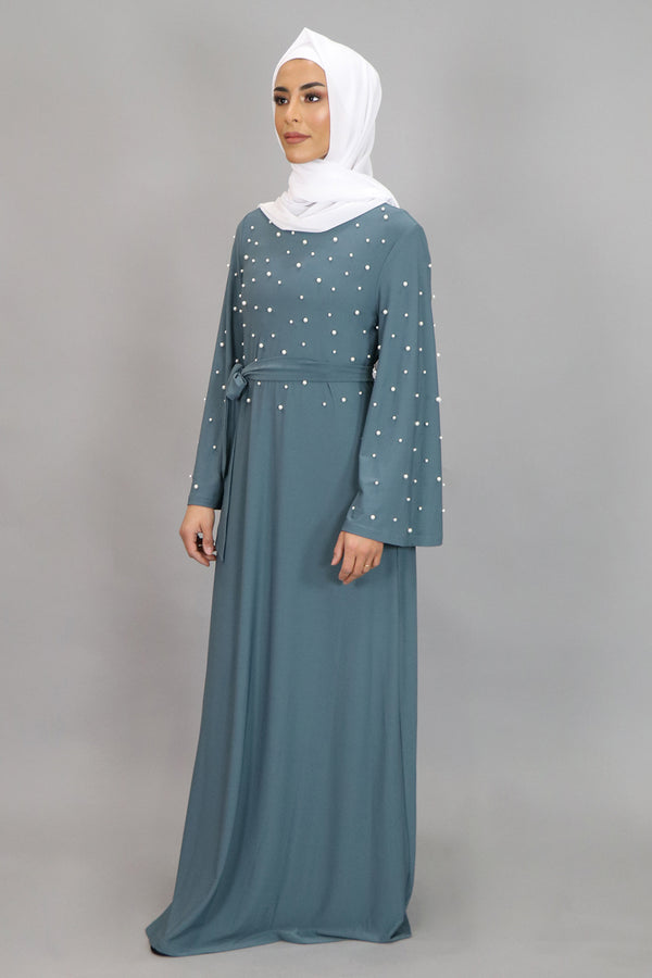 Mint Gray Wide Sleeve Pearls Spandex Maxi Dress (4549739905081)