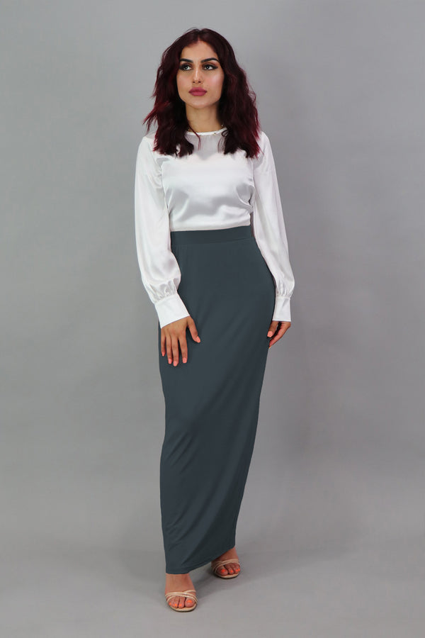 Luxe Spandex Maxi Skirt - Blue Gray