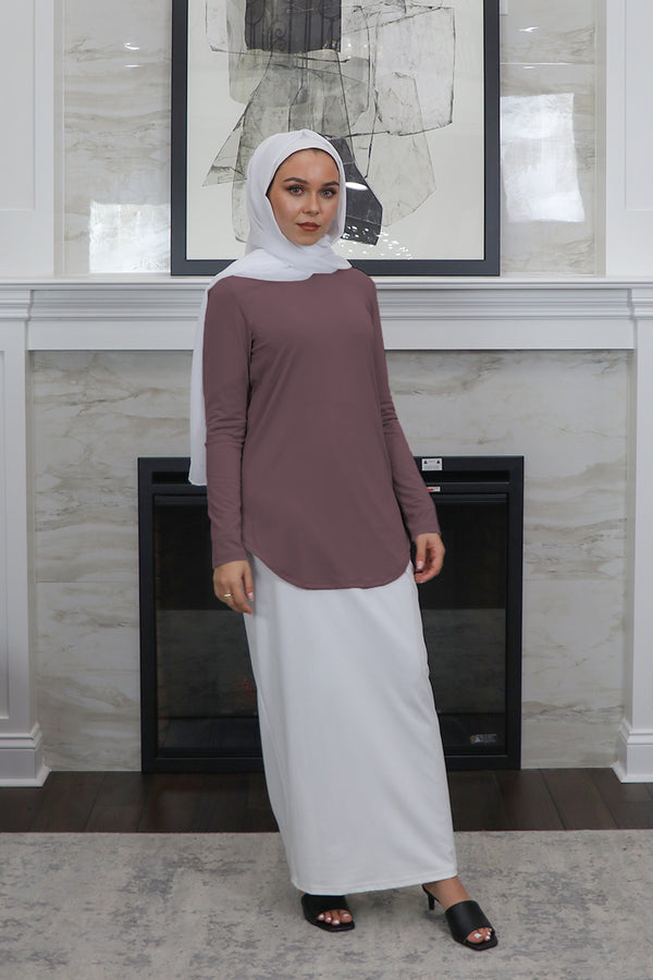 High Neck Long Sleeve Top- Dark Lavender