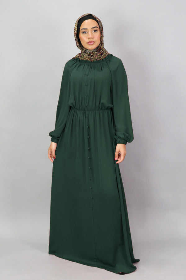 Hunter Green Soft Chiffon Button Front Dress (5306303709352)