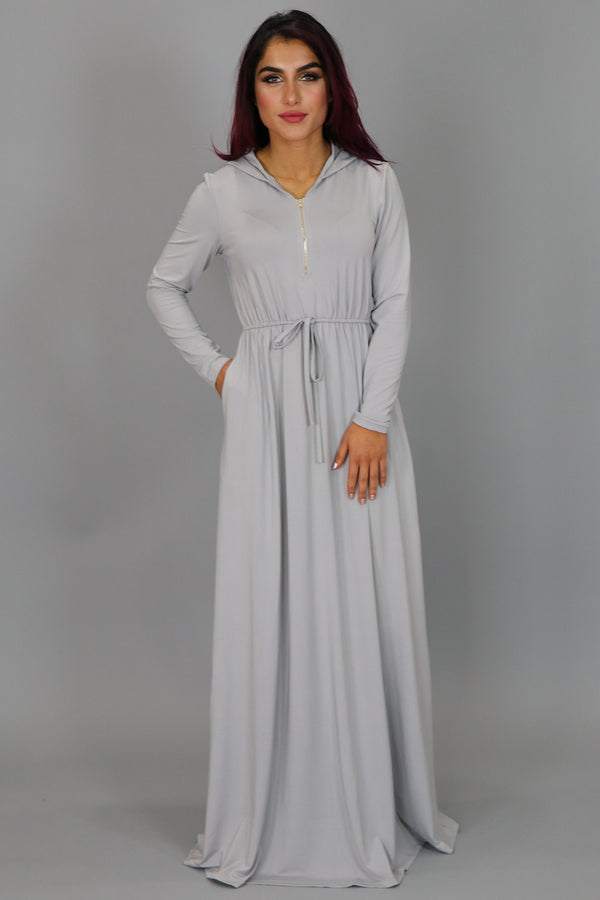 Silver Alexa Zipper Maxi Dress (2097535877177)
