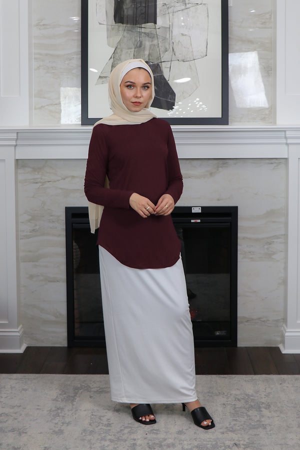 High Neck Long Sleeve Top- Mahogany