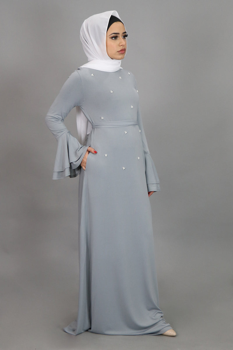 Light Gray Double-Bell Pearls Spandex Maxi Dress (4549720801337)