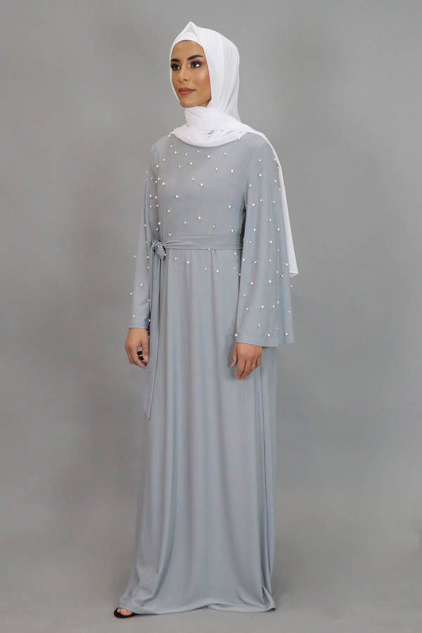 Gray Wide Sleeve Pearls Spandex Maxi Dress (4549737513017)