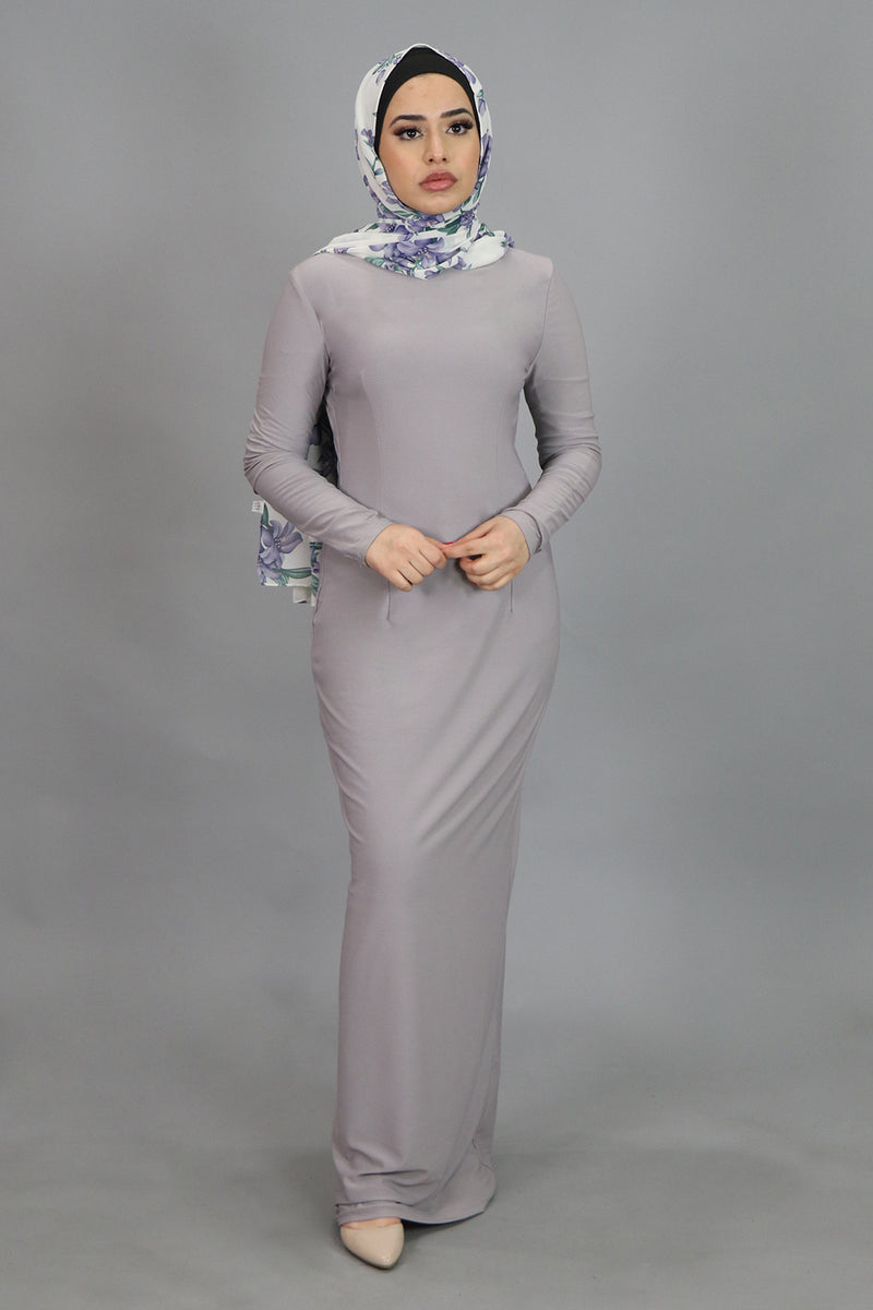 Light Gray Plain Fitted Spandex Maxi Dress (4540248260665)