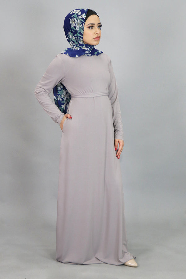 Light Gray Long Sleeve Spandex Maxi Dress (4534799106105)