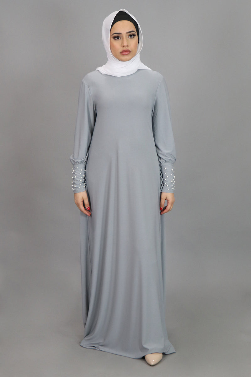 Light Gray Pearl Sleeve Spandex Maxi Dress (4549668962361)