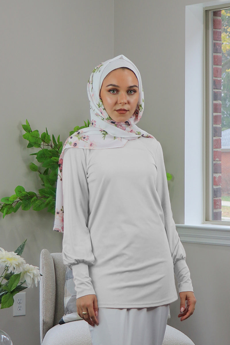 Silky Spandex Long Sleeve Top- White
