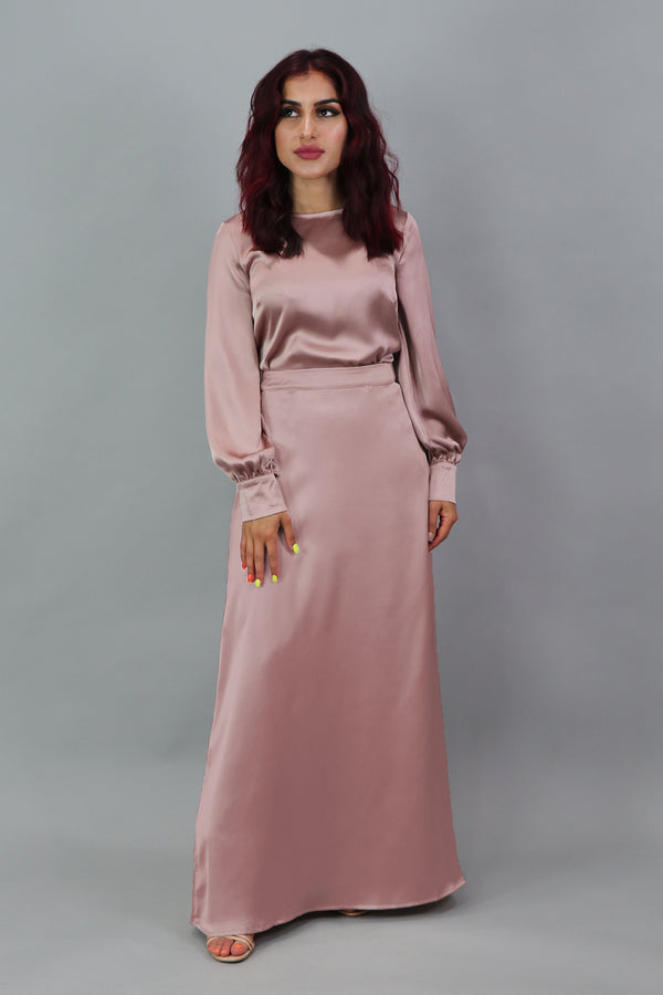 Lameera Satin Skirt - Dusty Rose