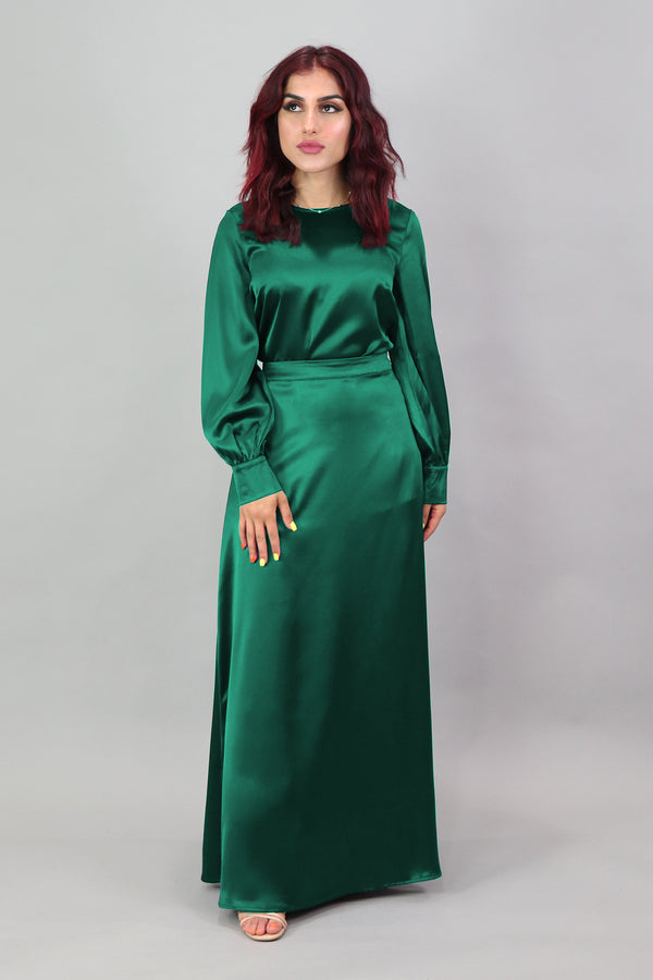 Lameera Satin Skirt - Emerald