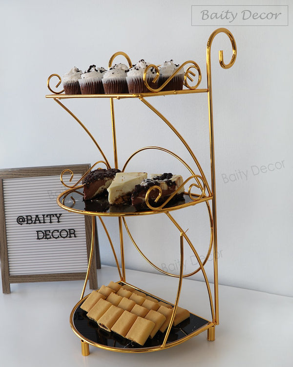 Black Marble and Gold 3 Tier Stand (4608152404025)