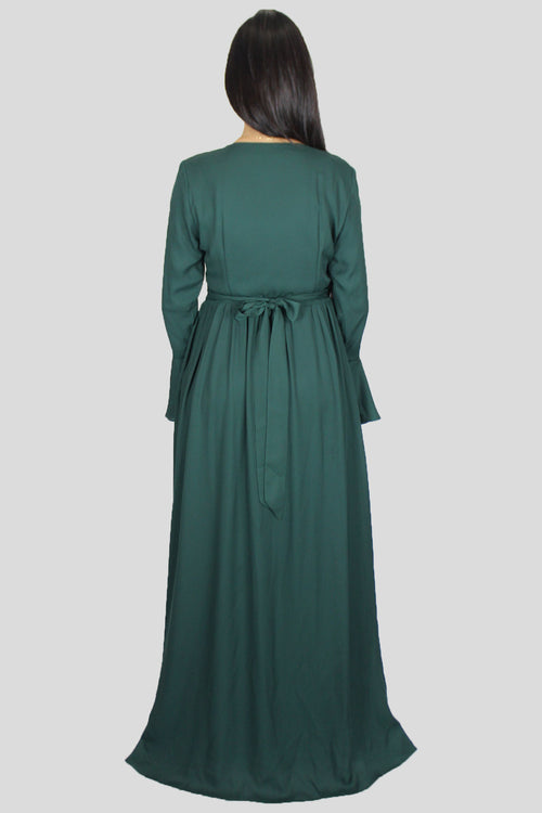 Emerald Green Bell Sleeves Maxi Dress (1483577557049)
