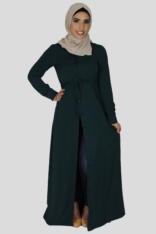 Teal Buttoned-Down Maxi Dress