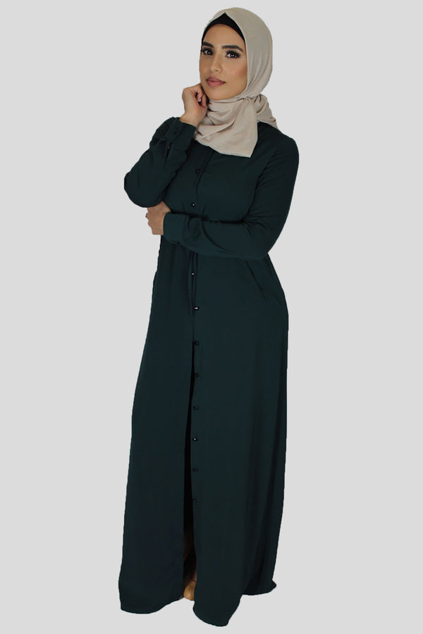 Teal Buttoned-Down Maxi Dress (1376290439225)