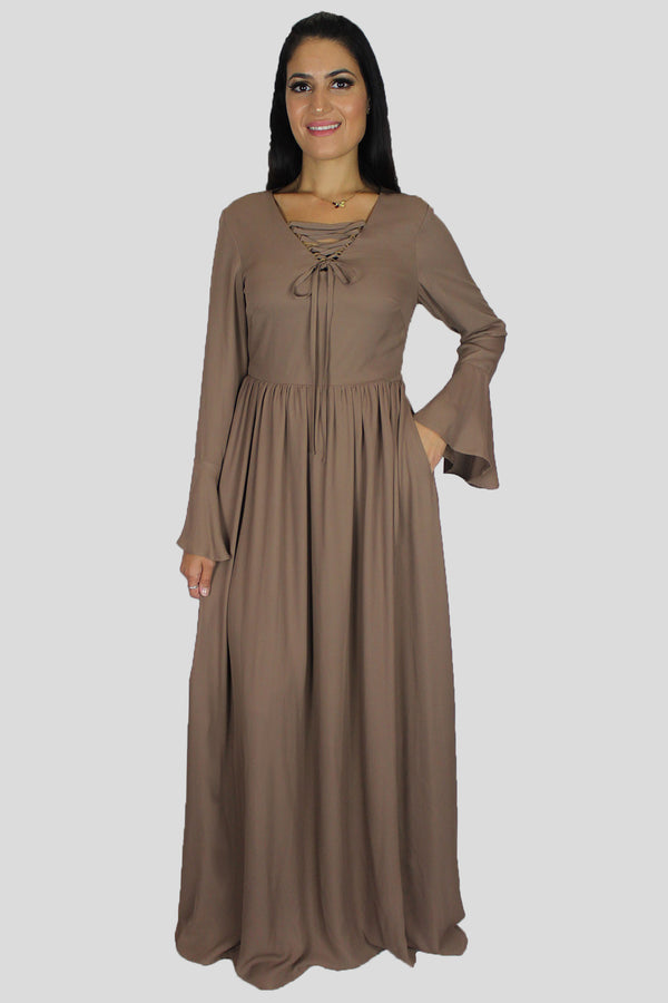 Khaki Brown Bell Sleeves Maxi Dress (1483705286713)