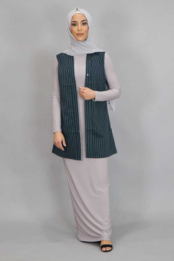 Dark Teal Striped Sleeveless Kimono (4547341385785)