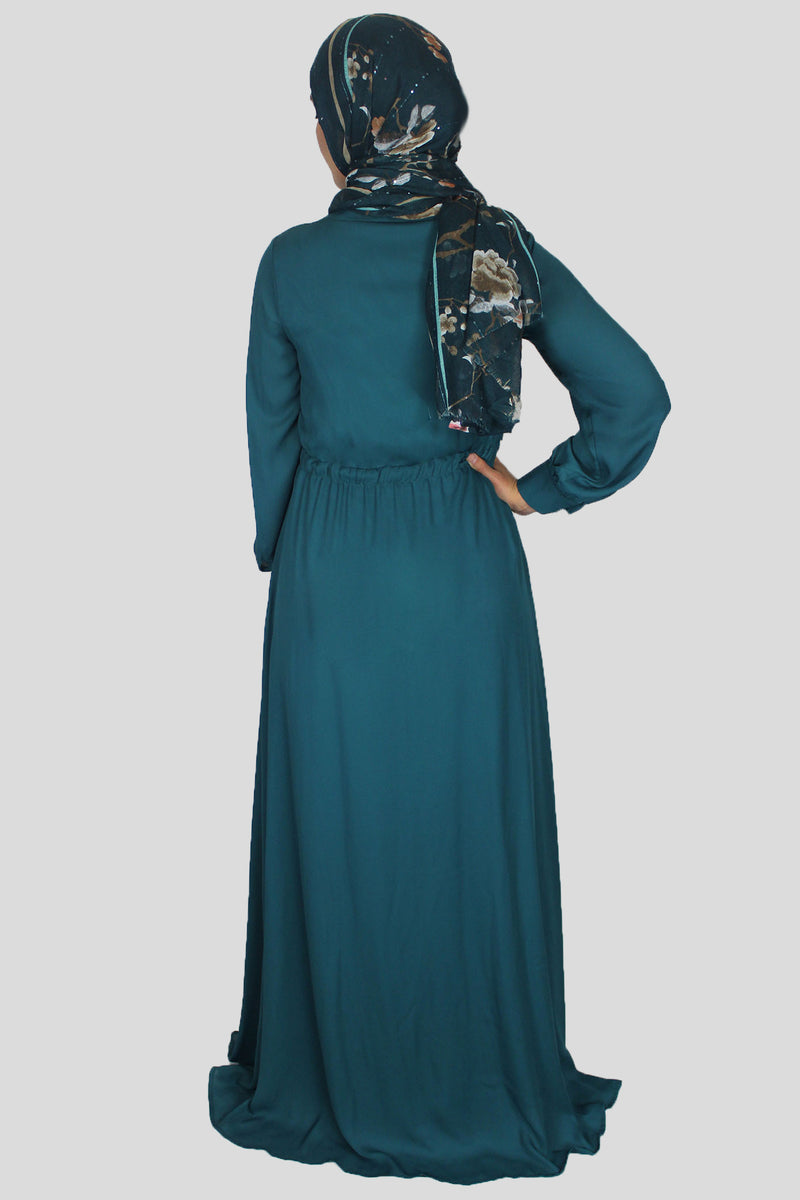 Dark Teal Lace-up Chiffon Maxi Dress (1484054364217)