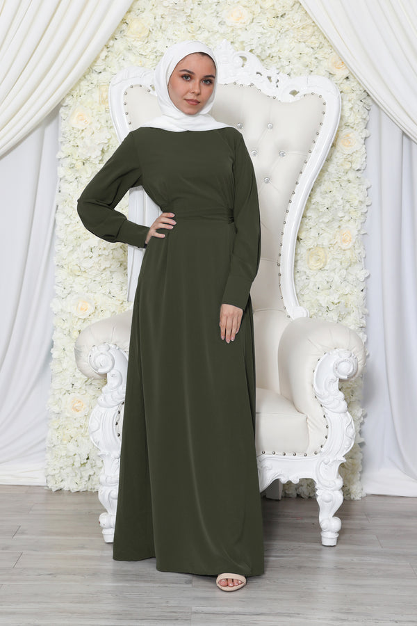 Deluxe Soft Wrap Dress- Army Green