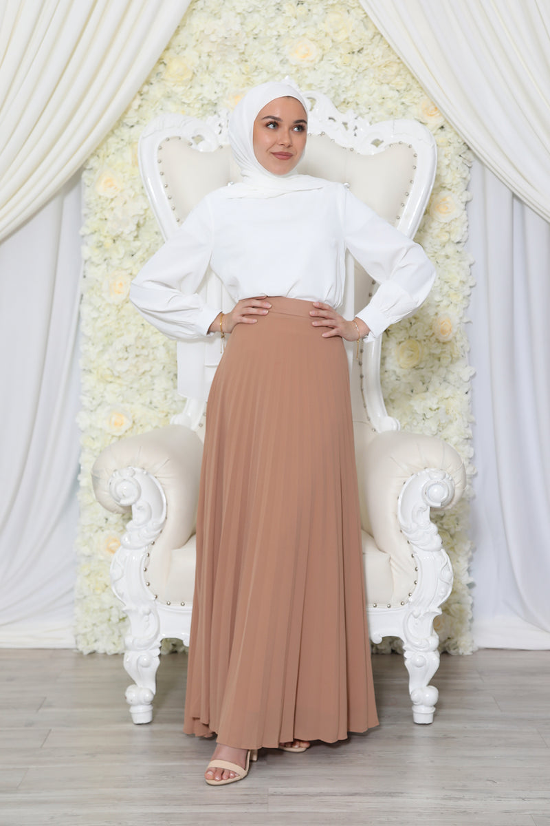 Premium Chiffon Pleated Skirt- Tan