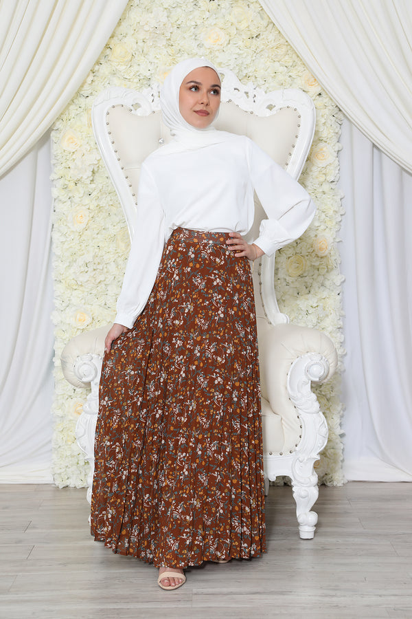 Floral Pleated Skirt- Brown