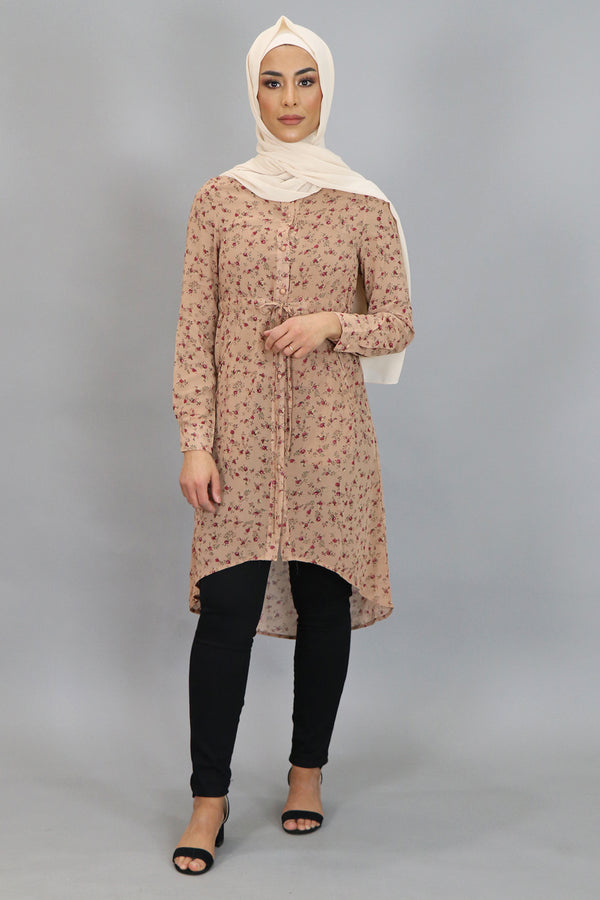 Tan Floral Buttoned-Down Tunic (4534829973561)