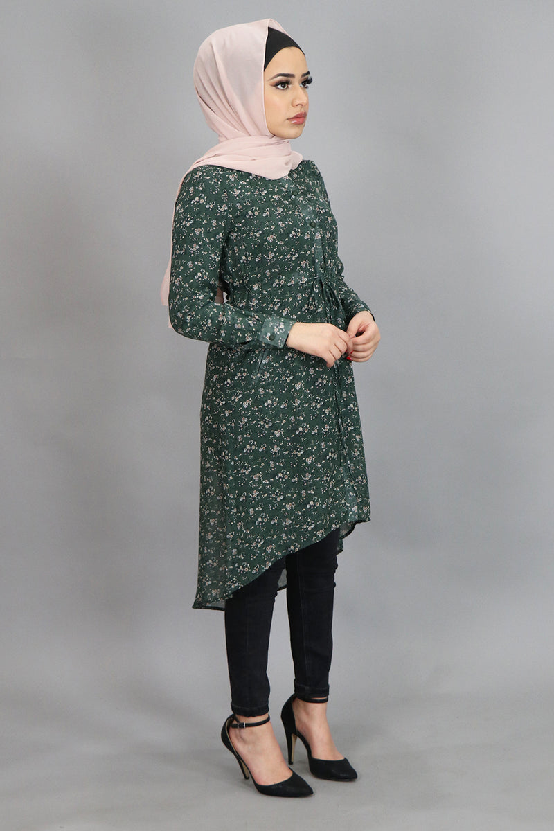 Emerald Green Floral Buttoned-Down Tunic (4537349668921)