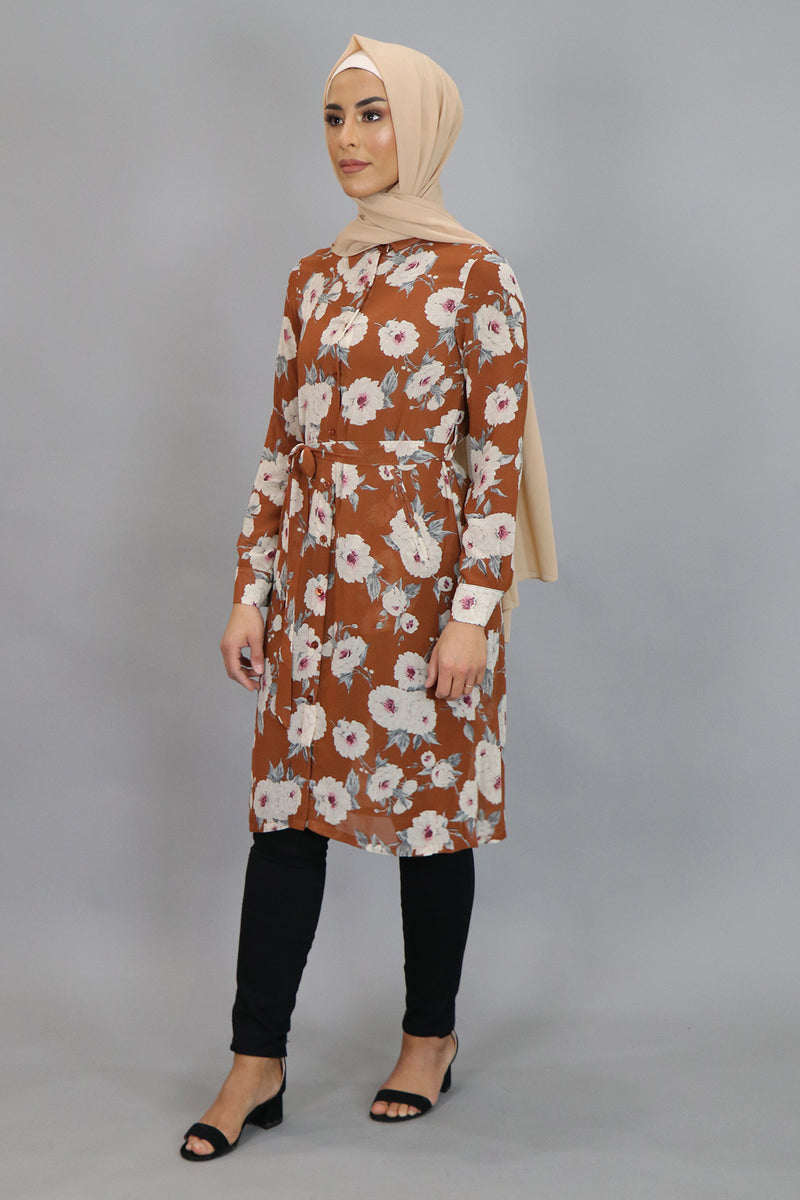 Burnt Orange Floral Long Tunic (4545250394169)