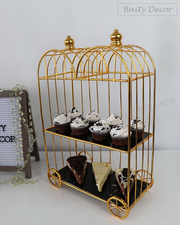 Black and Gold 2 Tier Double Carriage Stand (4608168493113)