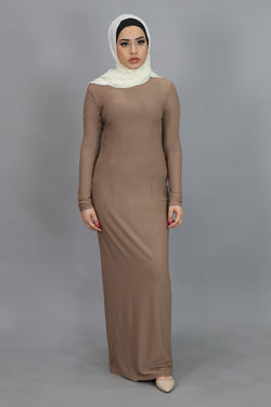 Tan Plain Fitted Spandex Maxi Dress (4540255797305)