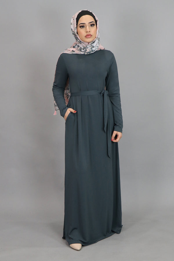 Blue Gray Long Sleeve Spandex Maxi Dress (4534799302713)