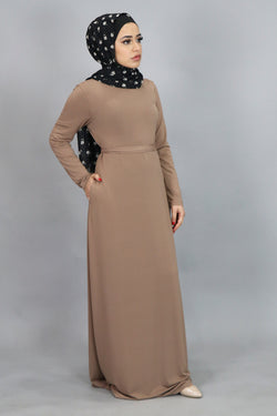 Tan Long Sleeve Spandex Maxi Dress (4534801793081)